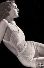 Vintage Crochet PATTERN to make Sun Suit Halter Shorts Swimsuit 1930s
