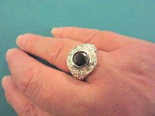925 Sterling Silver Ring With Black Spinel And Topaz UK P 1/2 US 8   (rg0974)