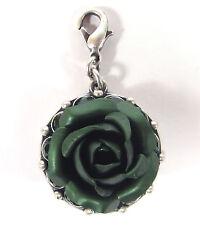 SoHo® Anhänger Rose grün matt eloxiert Strass Kristalle emerald altsilber Strass