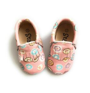 Pink Donut Baby Moccasins Leather Baby Shoes Toddler Shoes Loafers Multi-Color
