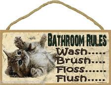 "Kitten Bathroom Rules Brush Wash Flush Bathroom Sign Plaque 5X10"""