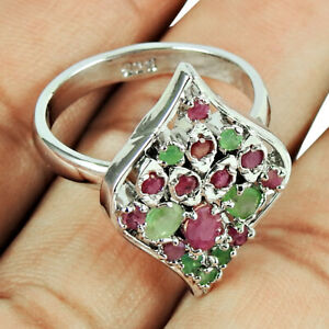 Round Shape Ruby Emerald Gemstone Ring Size 10 925 Sterling Silver Jewelry B83