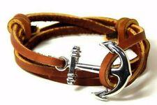 Anchor Bracelet Nautical Leather Men Women Fashion Adjustable Hand Made USA