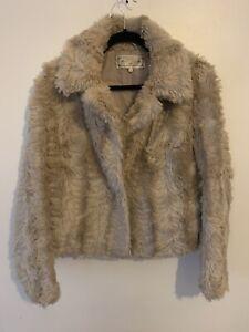 New Look Winter Faux Fur Beige Winter Jacket Size 14