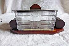 Ancien boite à biscuit bonbonniere Art déco verre moulé chrome et bois