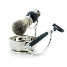 """Mach 3"" Razor With Badger Brush & Soap Dish On Stand, Black"