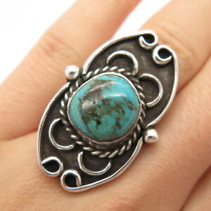 Old Pawn Navajo 925 Sterling Silver Bisbee Turquoise Ornate Tribal Ring Size 8