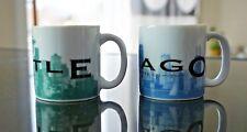 Set of 2 Starbucks Barista Skyline series espresso mini cups Chicago Seattle