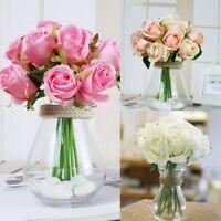 1 Bouquet 12 Heads Fake Artificial Rose Silk Flowers Bridal Wedding Party Decor