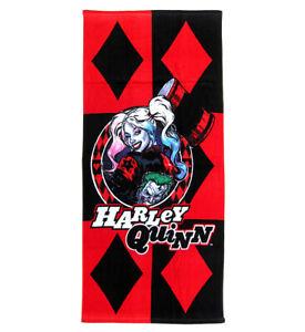 "DC Harley Quinn Diamonds Beach Towel Cotton Beach Towel Sized 58"" X 28"""