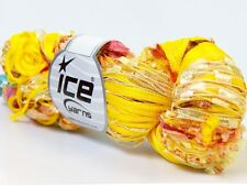 Lot of 3 x 100gr Skeins Ice Yarns Hand-Tied COCKTAIL FANCY Yarn Yellow Orange...