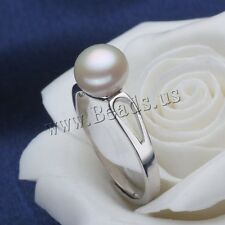Fashion Women Freshwater Button Pearl Silver Plated Adjustable Ring Size 7-9