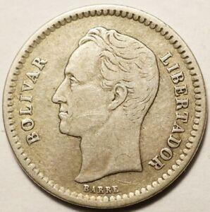 VENEZUELA : ASSEZ RARE 1/2 BOLIVAR ARGENT 1921