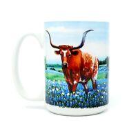 Texas Pride Longhorn - Blue Bonnets Cuppa Mug 15 Oz. Coffee Tea Cup Mug