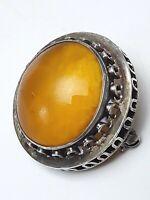 835 Silber Brosche 30er Jahre großer Honigbernstein butterscotch - A 397