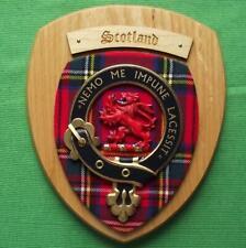 More details for vintage old scottish carved clan scotland stewart tartan plaque crest shield x