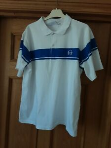 Mens Vintage Sergio Tacchini White Blue Polo Top XL