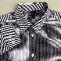 Gap Button Up Shirt Mens Large Purple Blue Long Sleeve Non-Iron Slim Fit Check