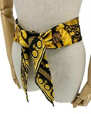 Authentic GIANNI VERSACE Vintage Medusa Belt Buckle Scarf Black Gold Rank AB