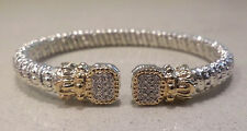 Vahan Sterling Silver & 14K Gold 6MM Pave Diamond Bangle Bracelet-21626D - NEW