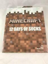 Minecraft 12 DAYS OF SOCKS - ADVENT CALENDAR GIFT SET Kids Size M 9-2.5