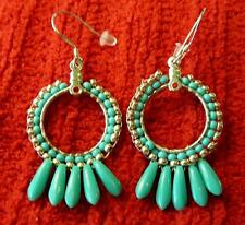 Blue Small Hoop Dagger Beaded Sterling Silver Earrings  - Native American Indian