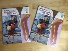 Vintage 2-Agilon Nylon Pantyhose Primrose Stretch Seamless Woolworth