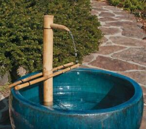 Asian Style Bamboo Wood Outdoor Adjustable Water Fall Fountain Kit - Soothing