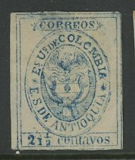 GN STAMPS- COLOMBIA-ANTIOQUIA, MINT, #1, NG, THINS, NICE CENTERING