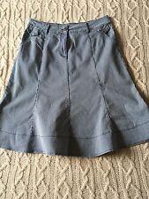 Per Una Blue White Pinstripe Flared Denim Skirt Front Zip Size 16