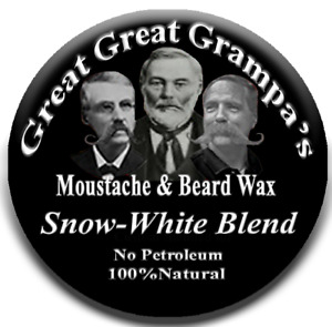"""WHITE Mustache & Beard Wax -  """"Snow-white"""" Blend - Mild, Medium or Stiff hold"""