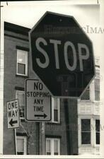 1989 Press Photo Street signs at Liberty and 3rd Street in Troy, New York