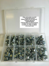 NUT & BOLT HOSE CLIP KIT 100 pcs FUEL PIPE CLIPS , 10 sizes. GREAT VALUE  **LOOK