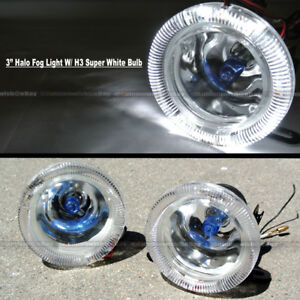 "For F-150 3"" Round Super White Halo Bumper Driving Fog Light Lamp Compl Kit"
