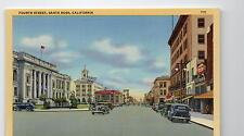 Santa Rosa CA Fourth Street Pictorial Wonderland Postcard 1940
