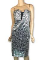 Kenzo New Sheath Dress Metallic Chevron Print Size 38 (4) Silver/BlackMSRP $675
