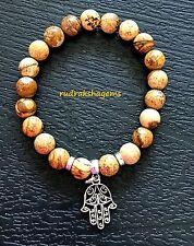 Picture Jasper Natural Gemstone Healing Bracelet Chakra Hand Fatima Hamsa Yoga