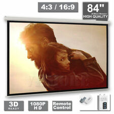 "84"" Inch Electric Motorised Projector Screen 4:3 16:9 Home Cinema 3D Projection"