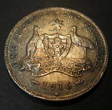 1916 Australia 2/- One Florin Two Shillings **ERROR DIE CRACK** #SF16 =6 PEARLS=