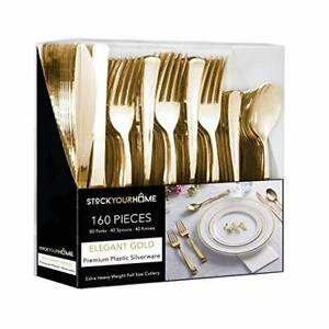Heavy Duty 160 Pack Gold Cutlery - 80 Forks, 40 Knives, 40 Spoons