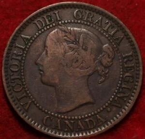 "1859 Over Wide ""8"" Canada One Cent Foreign Coin"