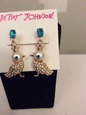 $35 Betsey Johnson Faux Bird Pearl Drop Earrings New 2016 BO4