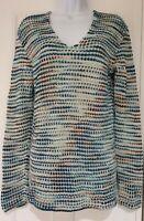 Womens Peruvian Connection Blue Fleck Split Sides Cotton Tunic Knit Jumper S.