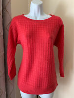 Ann Taylor Pink Waffle Wool Blend Sweater, Women's Small