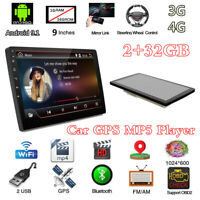 "Android 9.1 4-Core Double 2DIN 9"" Car Stereo Radio Sat Nav GPS MP5 Player 2+32GB"