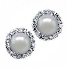 925 Silver Grey Cultured Freshwater Pearl Removable Jacket Stud Earrings