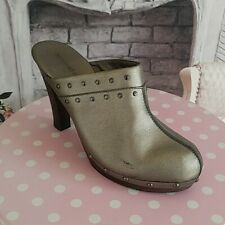 Newport News Women's Shoes Mules Pewter Size 10B Faux Leather