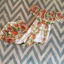 New ANTHROPOLOGIE Off the Shoulder Ruffle Maxi Bohemian Floral Dress Size Small