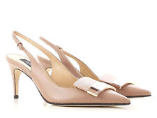 7a1bb1865e8 Sergio Rossi Women s HEELS Slingbacks PUMPS in Powder Leather Size UK 8 -  It 41
