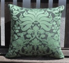 "NEW 16"" reversible zipped cotton cushion heraldic green and black damask style"